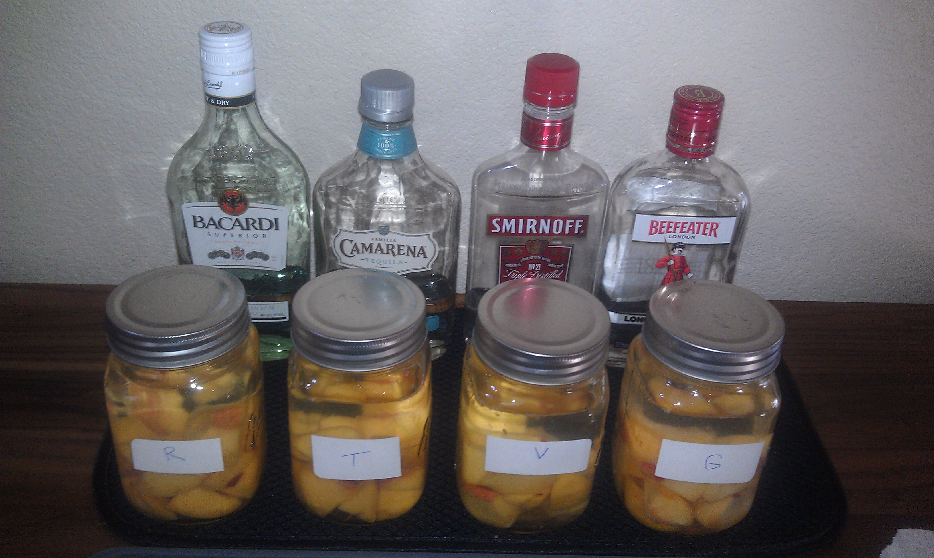 This is the infusion experiment after putting the peaches and liquor in the jars.